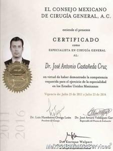 Certificate - Dr. Jose Castaneda