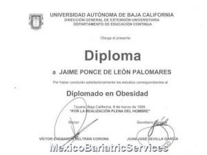 Dr. Jaime Ponce Tijuana Obesity Surgery Diploma