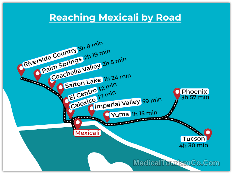 Travel Times to Mexicali by Road