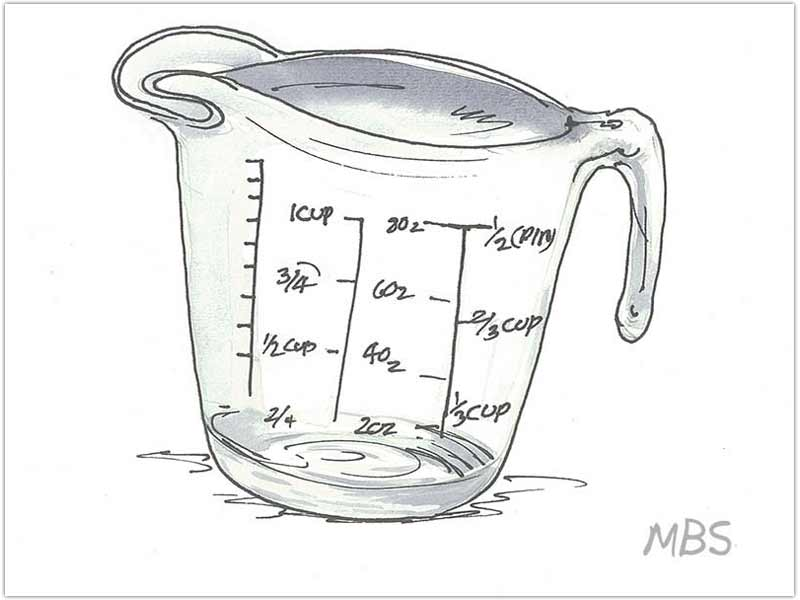 measuring cup for water intake after WLS