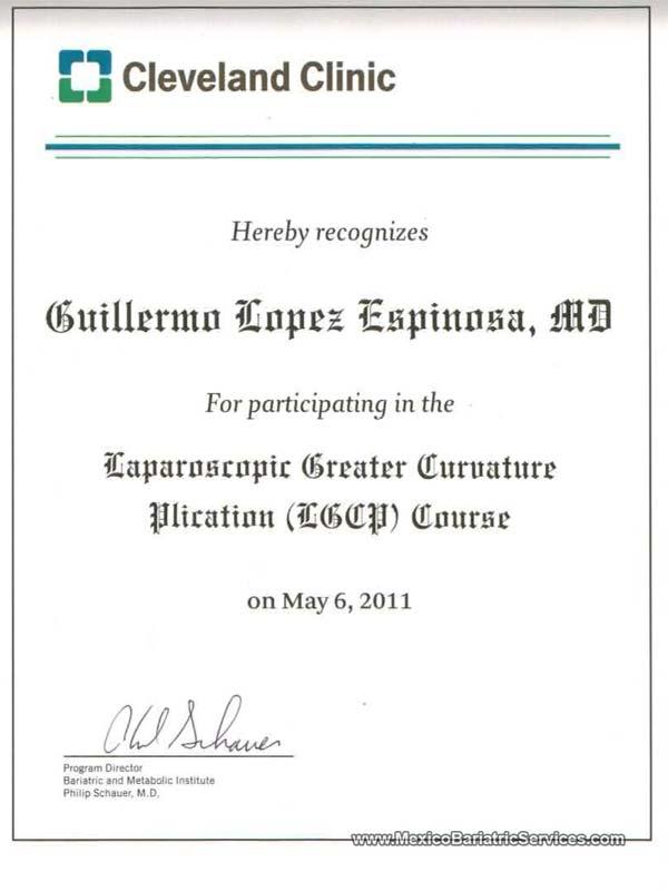 Cleveland Clinic Gastric Sleeve Tijuana Certificate