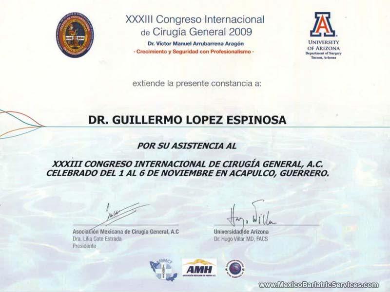 Dr. Guillermo General Surgery Tijuana Certificate