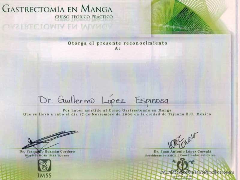 Gastric Sleeve Dr. Guillermo Lopez Tijuana Certificate