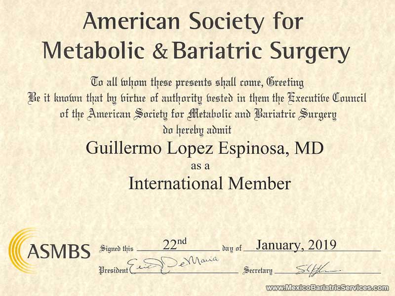 Dr. Guillermo Lopez ASMBS membership